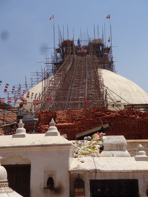 Reconstruction at Boudanath stupa